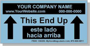 """Personalized Bilingual Spanish """"This End Up / Arrows"""" Shipping Labels 2 x 4"""" Blue"""