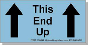 """""""This End Up / Arrows"""" Shipping Labels 2 x 4"""" Blue"""