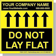 "Personalized Bilingual Spanish ""Do Not Lay Flat / Up Arrows"" Labels 4x4"" Yellow"