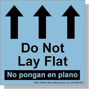 "Bilingual Spanish ""Do Not Lay Flat / Up Arrows"" Labels 4 x 4"" Blue"