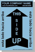"Personalized Bilingual Spanish ""This Side Up / Arrow"" Shipping Labels 4 x 6"" Blue"