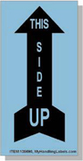 """""""This Side Up / Arrow"""" Shipping Labels 2 x 4"""" Blue"""