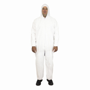 Disposable Coveralls, Tyvek® Substitute, Hood, Elastic Wrist & Ankles (M) White cs/25