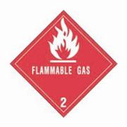 "4x4""Flammable Gas - Hazard Class 2 Label rl/500"