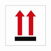 """3x4""""Two Red Up Arrows Over Black Bar Label rl/500"""