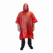 Red 10-mil One-Piece Poncho with Hood and Side Snaps 1/ea