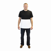 "3/8"" Thick 14x18"" White PVC Boning Apron with Adjustable Strap 1/ea"