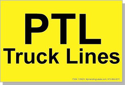 "PTL Truck Lines ID Freight Labels 4x6"" Yellow Item: 133623"